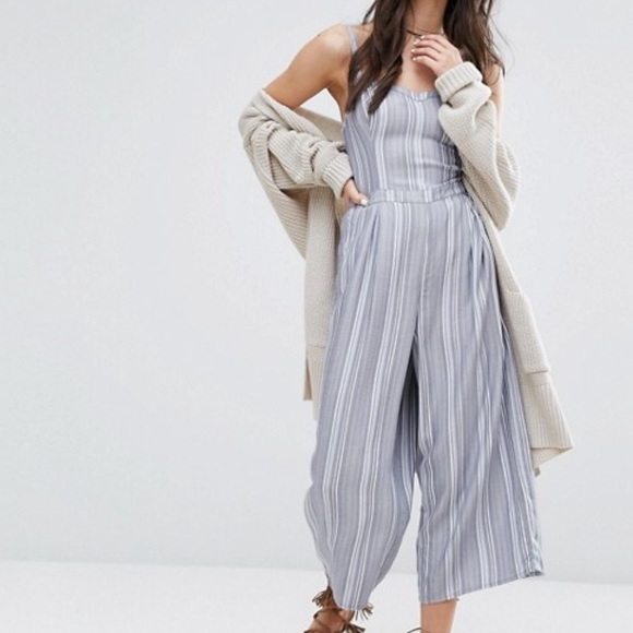 3bbdbf64897a Hollister Blue Stripe Culotte Jumpsuit